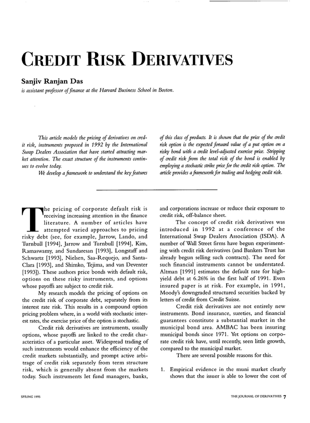 Credit Risk Derivatives | The Journal of Derivatives